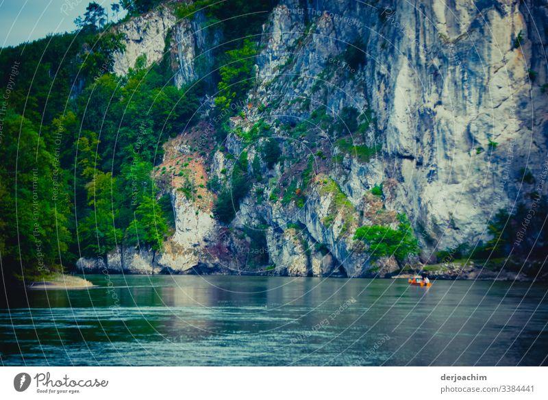 Donaudurchbruch. Mit  Großen Felsen und starker Strömung. Ein kleinesRotes Boot ist im unteren Rand zu sehen. Links eine Baumgruppe. Fluss Schmal Ruderboot