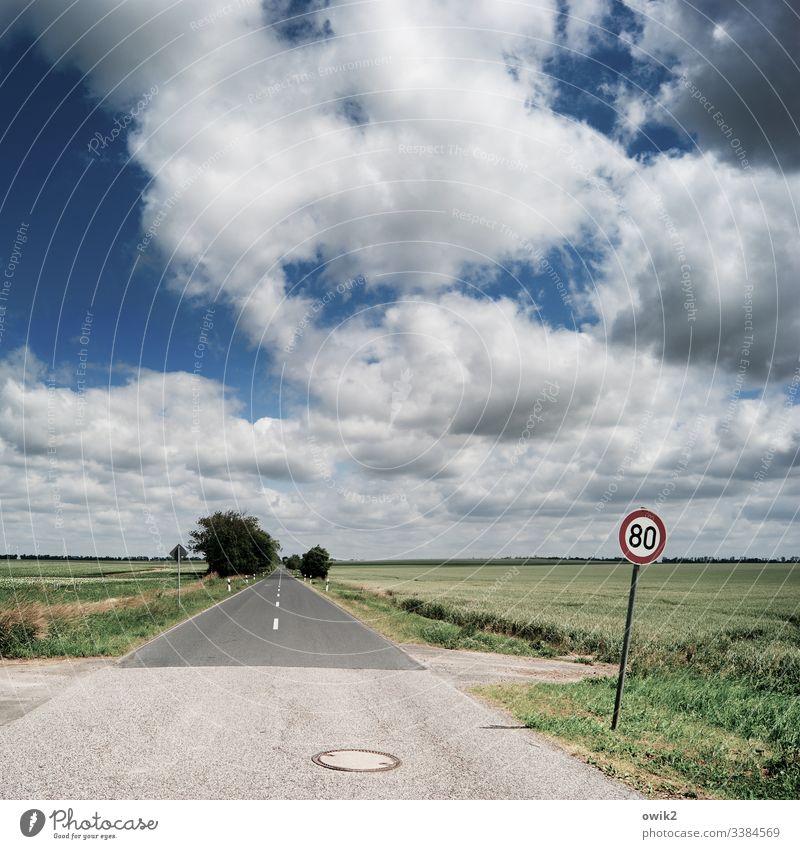 Vorsicht, Blitzer Straße Flachland gerade geradeaus Himmel Wolken Horizont Landschaft Menschenleer Außenaufnahme Ferne Umwelt Textfreiraum unten Freiheit Ziel