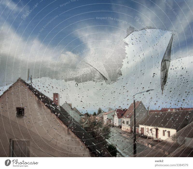 Regenreich Fenster Ausblick Aussicht Überblick draußen Häuser Straße Dorfstraße Fläming Dord Ortschaft Dorfidylle Menschenleer Textfreiraum oben