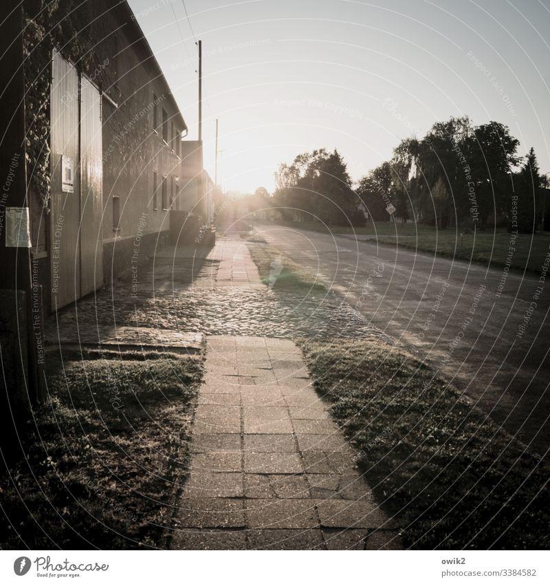Dorfstraße im Gegenlicht Bürgersteig Sonnenlicht Sonnenuntergang Außenaufnahme Farbfoto Menschenleer Straße Licht Haus Abend leuchten Fassade Textfreiraum oben