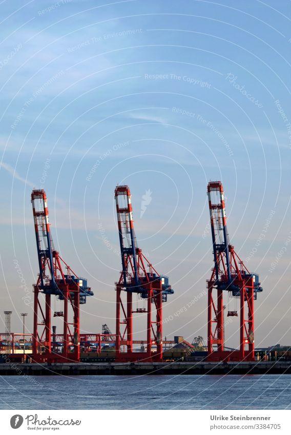 Drei Kräne im Containerhafen Hamburg Hafen Fracht Hebevorrichtung industriell Hafenanlage Elbe Containerterminal Frachthafen drei Fluss Anlegestelle Lastkran