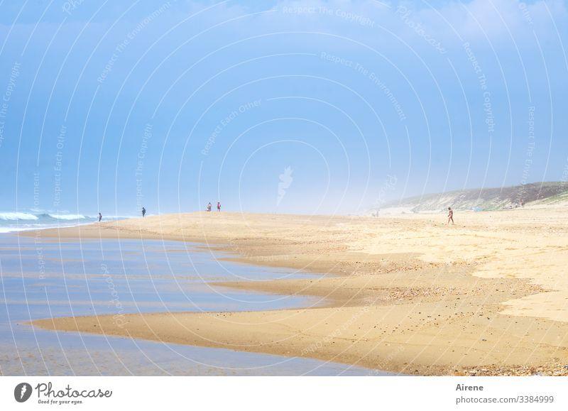 vorbildliches Verhalten am Strand | corona thoughts Sommerurlaub Meer Wasser Schönes Wetter Küste Sand Tag Sonnenlicht Mensch Totale Licht Erwachsene Urelemente