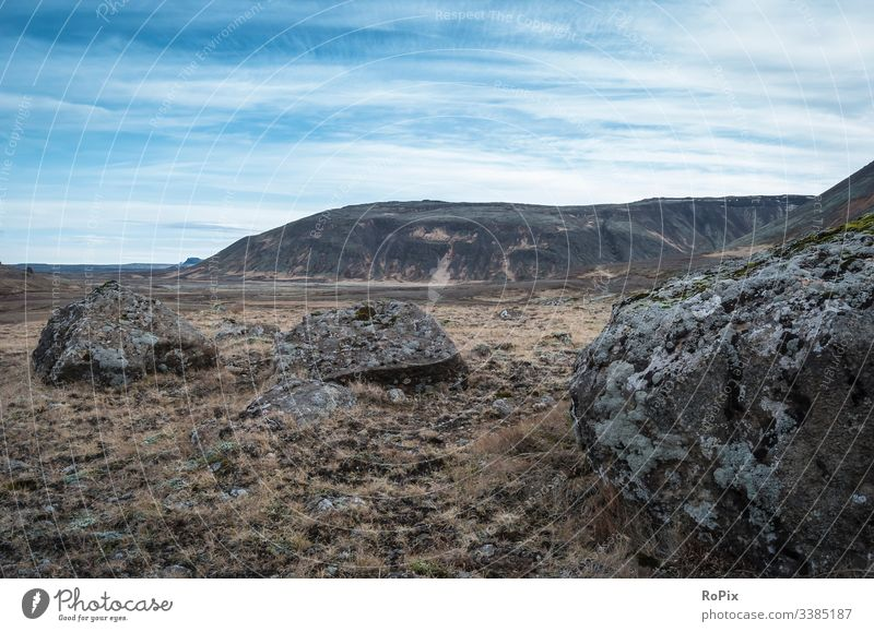 Abgelegene Landschaft auf Island. Steine Monochrom vulkanisch weiß Wasser Reflexion & Spiegelung schwarz Frost Morgen Natur Winter neblig schön Saison
