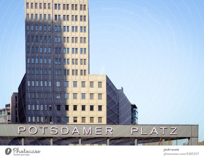 Potsdamer Platz Silhouette Zeit modern Schriftzeichen Fassade Hochhaus Berlin-Mitte Stadtzentrum Architektur Hauptstadt Großstadt Außenaufnahme Sehenswürdigkeit