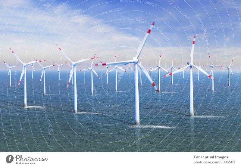 Erhöhte Ansicht eines Windparks auf See alternativ Alternative Energie Effizienz elektrisch Elektrizität Umwelt umgebungsbedingt Umweltschonung Bauernhof