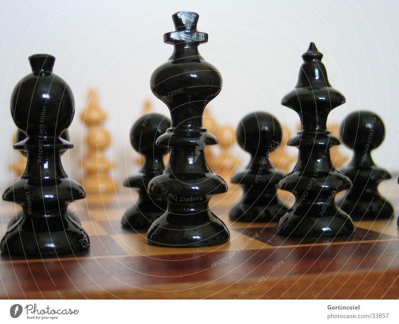 Schach Freude Freizeit & Hobby Spielen planen Erfolg Verlierer Sportveranstaltung Schachfigur Schachbrett schwarz weiß Niederlage Holzbrett Verstand Denken