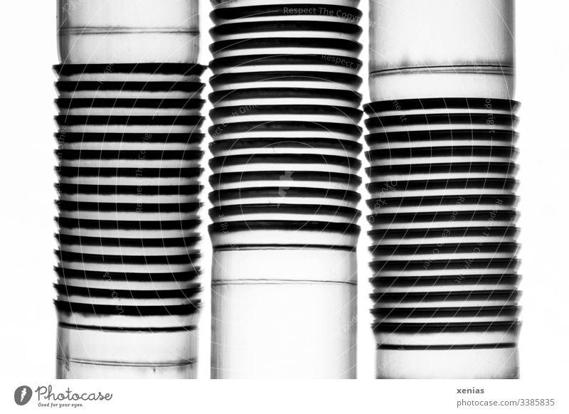 Drei Trinkhalme mit Knickstellen als Makroaufnahme vor hellem Hintergrund Rohre Strukturen & Formen Linien abstrakt Design Kunststoffmüll Muster drei
