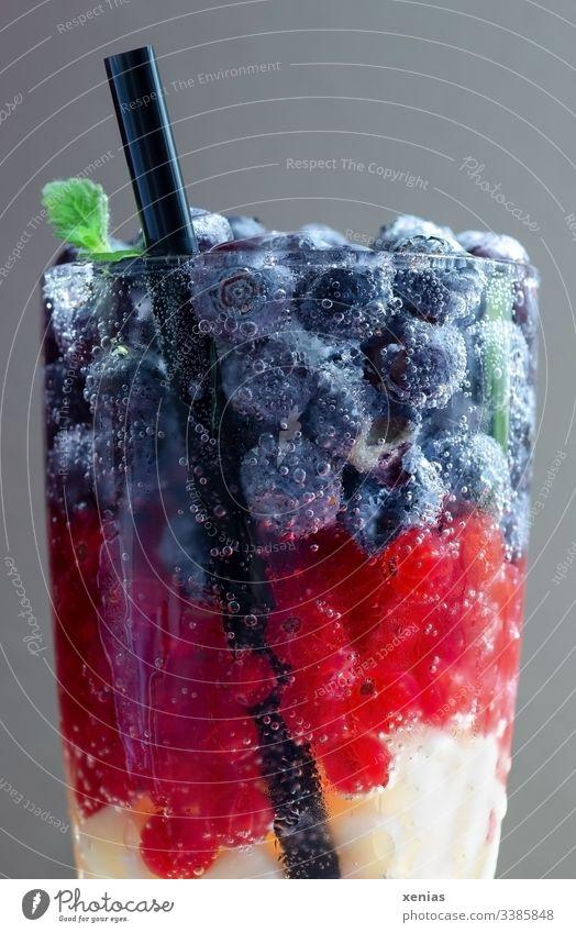 Ein Glas Erfrischungsgetränk mit Beeren und schwarzem Trinkhalm Getränk Obst vitaminreich Vegetarische Ernährung Blaubeeren Johannisbeeren rot gelb