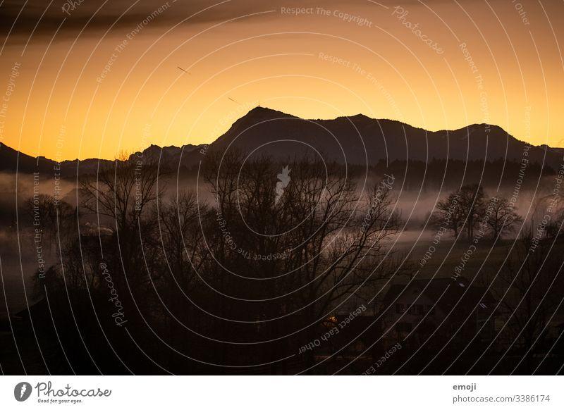Berg Rigi kurz vor Sonnenaufgang berg rigi sonnenaufgang sonnenaufgang mit nebel Berge u. Gebirge Morgen Landschaft Morgendämmerung Alpen Himmel Menschenleer
