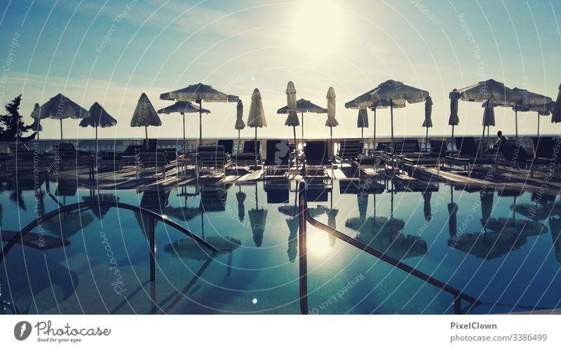 Abendstimmung am Pool Urlaubsstimmung Ferien & Urlaub & Reisen Sommer swimming pool Sonnenuntergang reisen Griechenland Sommerurlaub Schwimmen & Baden Tourismus