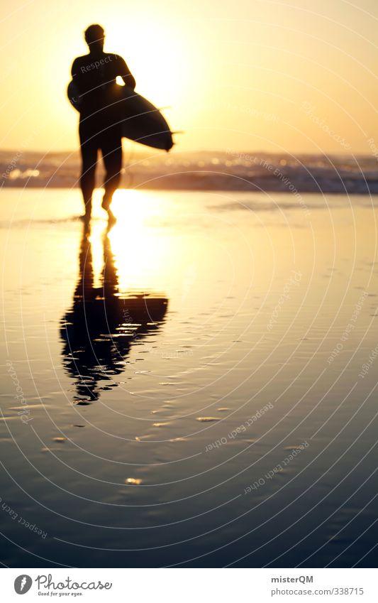 Step into Sun. Lifestyle elegant Stil exotisch Freizeit & Hobby Kunst ästhetisch Zufriedenheit Surfen Surfer Surfbrett Surfschule Sonne Strand Küste Erholung