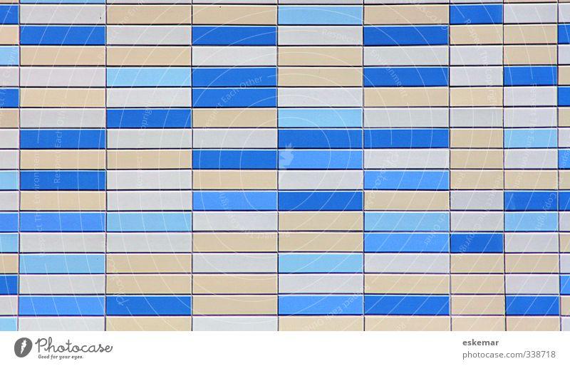 geo Kunst Kunstwerk Bauwerk Gebäude Architektur Mauer Wand Fassade ästhetisch eckig einfach blau grau weiß Zufriedenheit Hintergrundbild Fliesen u. Kacheln