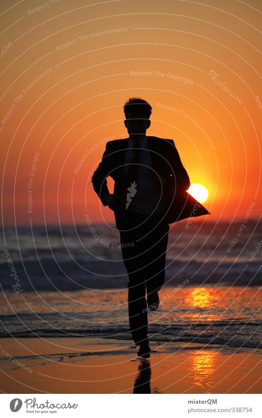 running business. Mensch Kind Mann Jugendliche Sonne Meer Strand Junger Mann Küste Kunst Business maskulin Wellen Orange Idylle laufen