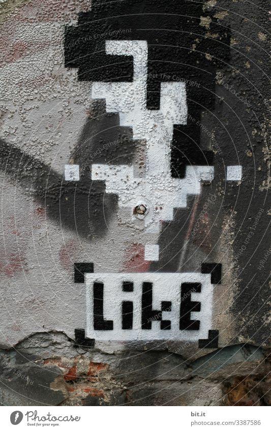 Freu mich über likes ...danke mögen Wand Fassade Graffiti Kunst Zeichen Menschenleer Jugendkultur Mauer Schriftzeichen Subkultur Kultur Stadt Design Kreativität