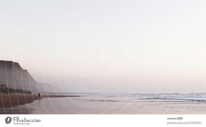 Surferama. Himmel Ferien & Urlaub & Reisen Meer Landschaft Ferne Küste hell Felsen rosa Wellen Idylle Lifestyle ästhetisch Sommerurlaub Panorama (Bildformat)