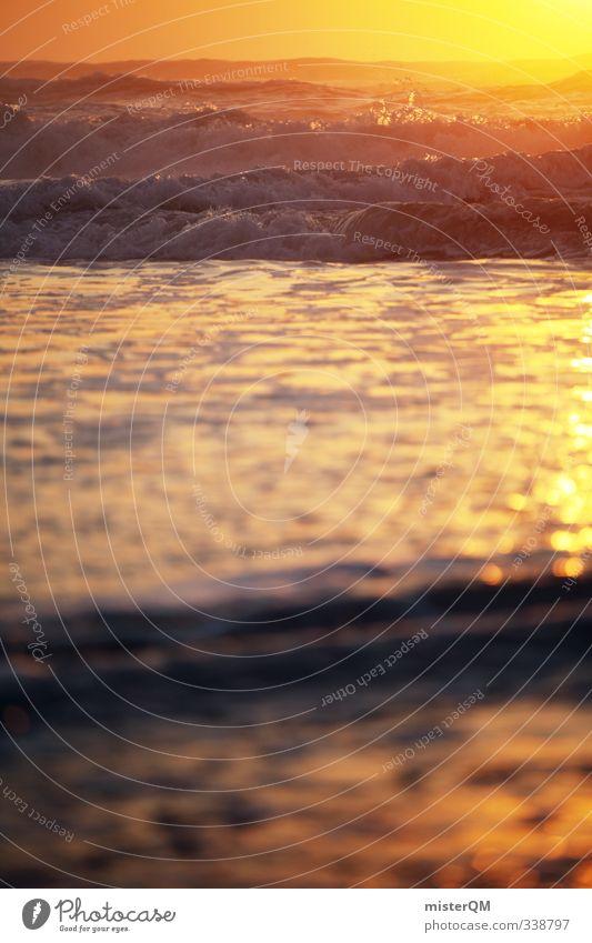 Deep Gold III Kunst ästhetisch Zufriedenheit Meer Ferne Wellen Wellengang Wellenschlag Portugal sommerlich Sommerurlaub Ferien & Urlaub & Reisen Urlaubsfoto