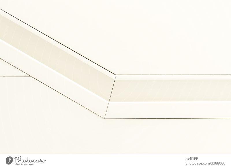 weißer Handlauf in der Wand Architektur Geländer abstrakt Muster minimalistisch Minimalismus Strukturen & Formen Menschenleer Stil eckig Grafik u. Illustration