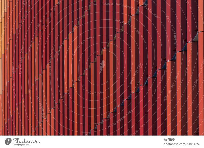 rot gestreifte Aussenfassade minimalistischer Hintergrund minimalistisches Muster Design Farbfoto Strukturen & Formen Geometrie urbane Formen leuchtende Farben
