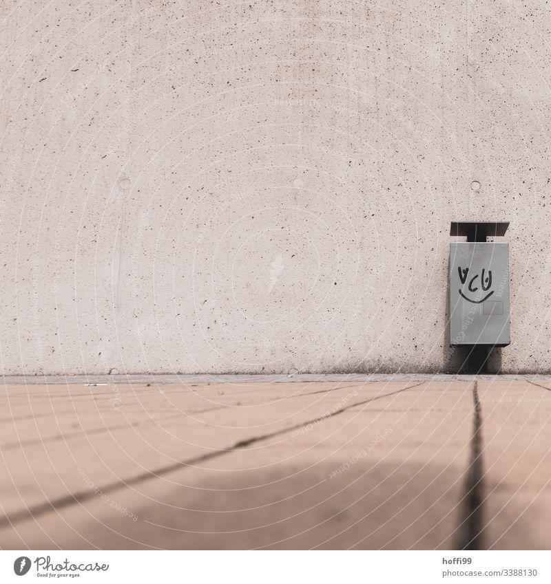 lächelndes Gesicht auf einem Mülleimer Müllsack Müllbehälter hinwerfen aufräumen Strukturen & Formen Hintergrund neutral Recycling urban urbane Kunst