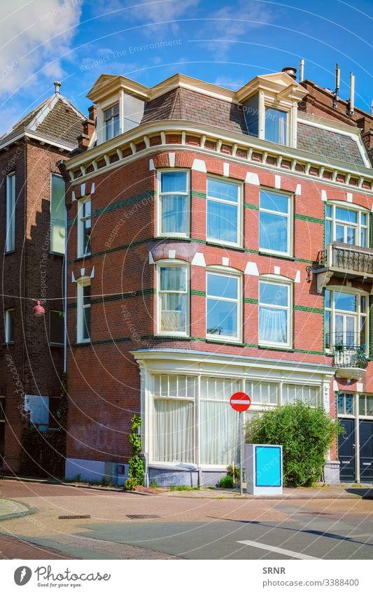 Eckhaus Amsterdam architektonisch Architektur Gebäude Großstadt Eckstoß Revier Europa Außenseite Fassade Wohnen holländisch heimwärts Haus Häuser Niederlande