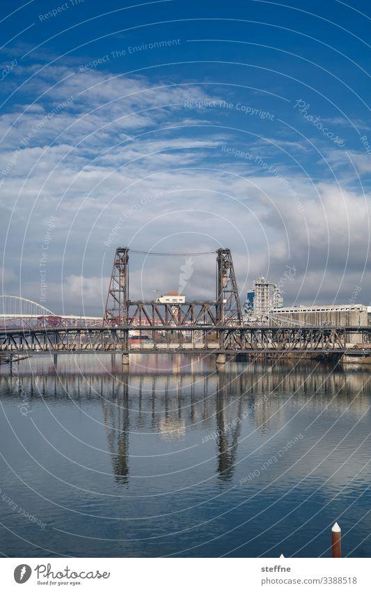 Stahlbruecke mit Spiegelung ueber Fluss Brücke Stahlbrücke Wasser Industrielandschaft Architektur Reflexion & Spiegelung Eisenbahnbrücke