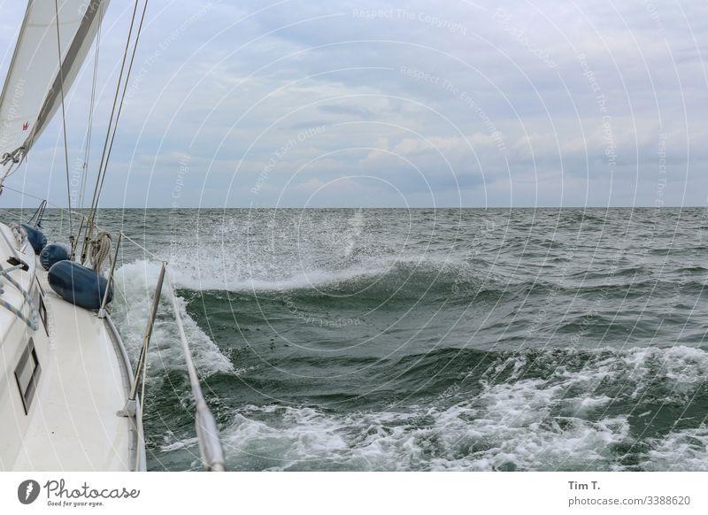 Segeln Ostsee Meer Wellen Wind Wasser Segelboot Außenaufnahme Farbfoto Menschenleer Horizont Segelschiff Ferne Schifffahrt Bootsfahrt Wasserfahrzeug Wassersport