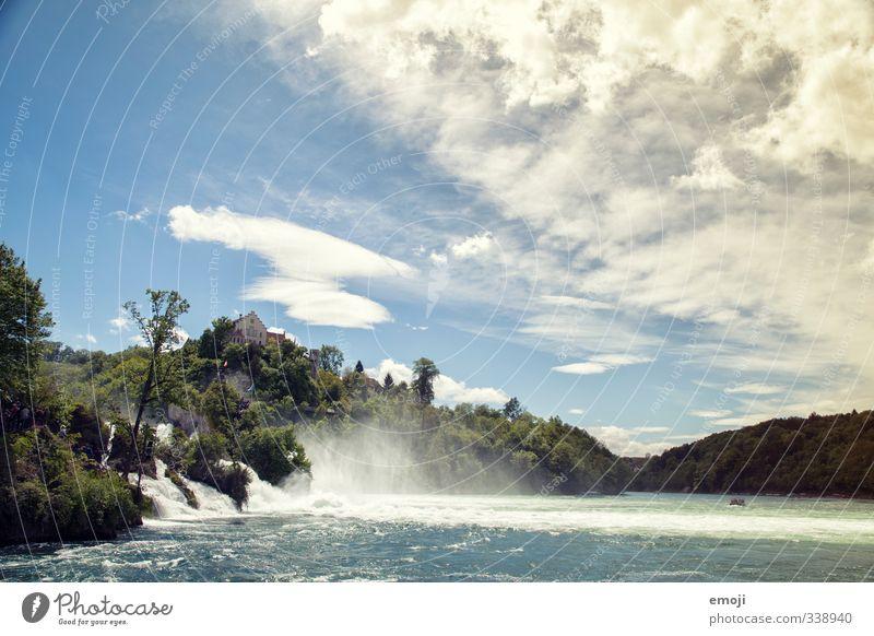 open water Umwelt Natur Wasser Himmel Sommer Seeufer Flussufer Wasserfall nass natürlich blau Rheinfall Farbfoto Außenaufnahme Menschenleer Tag Weitwinkel