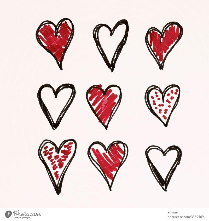 neun unterschiedlich gemalte Herzen Kritzelei zeichnen Zeichnung Symbolik Mitteilung Scribble deuten malen Piktogramm Skizze stil stilisiert verliebt Papier