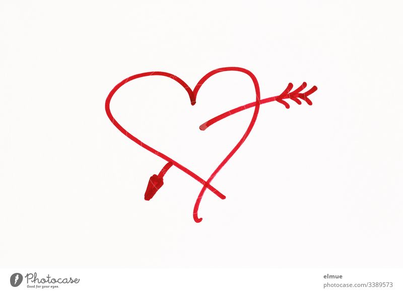 rotes gemaltes Herz mit Pfeil Kritzelei zeichnen Zeichnung Symbolik Mitteilung Scribble deuten malen Piktogramm Skizze stil stilisiert verliebt Papier Stift