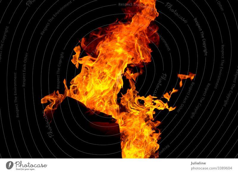 Rote Feuerflamme auf schwarzem Hintergrund Flamme lodernd Brandwunde Feuerstelle Natur Details Temperatur Gefahr erwärmen brennend rot gelb Licht explodierend