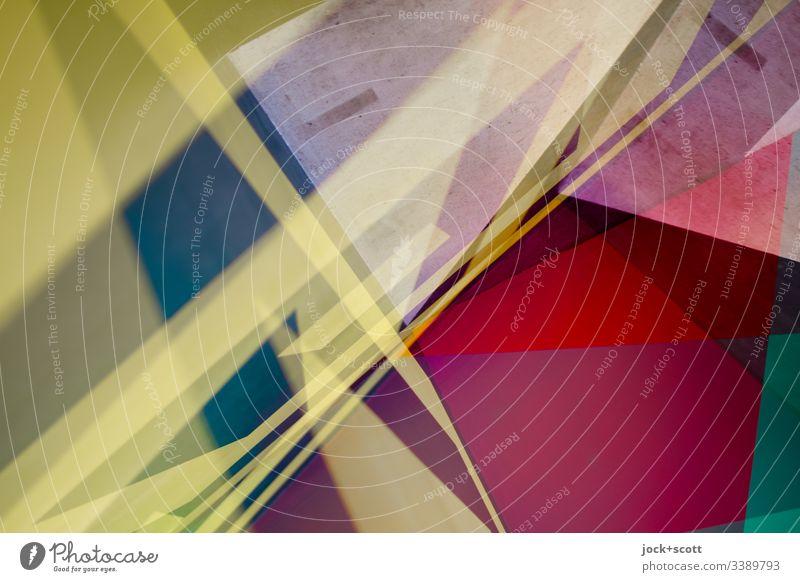 Bunter Mix von Farben und Formen Irritation Inspiration komplex Surrealismus Doppelbelichtung mehrfarbig Pop-Art Farbfoto Experiment abstrakt Muster