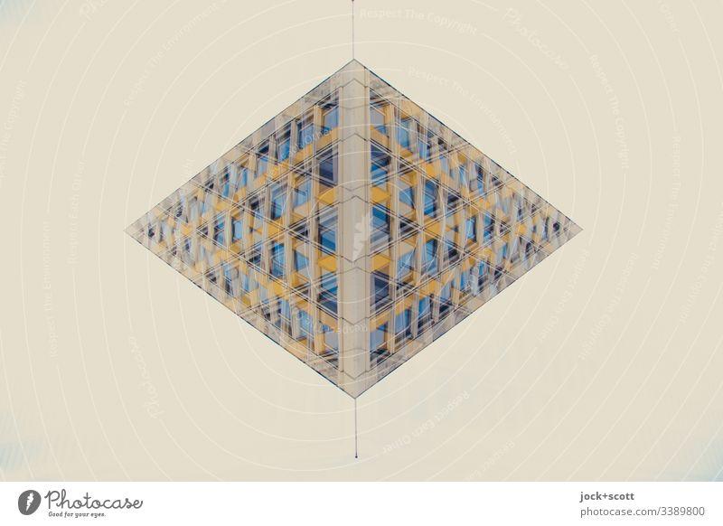 Knick in der Optik eines Plattenbaus Silhouette Hintergrund neutral abstrakt Reaktionen u. Effekte Illusion Pendel Doppelbelichtung Surrealismus Irritation
