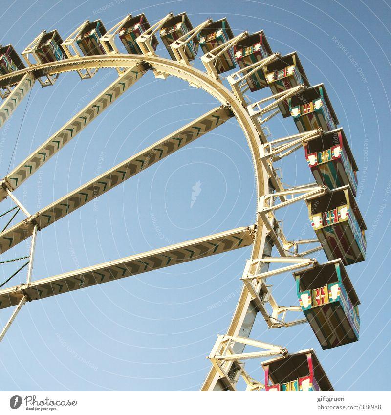 life is like a ferris wheel Freude Spielen Glück Feste & Feiern Stimmung Freizeit & Hobby hoch Fröhlichkeit Kreis Lebensfreude rund Abenteuer Höhenangst Stahl