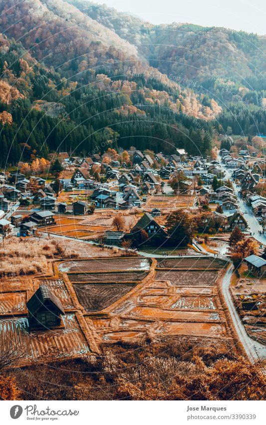 pueblo japones con casas en otoño Heimatstadt Haus ländlich traditionell Japan Herbst Ländliche Stadt Shirakawa-go-go asiatisch Landschaft Hintergrund Tapete