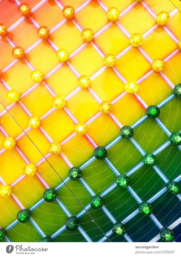 ich höre farben. Linie gelb grün Beleuchtung graphisch kreuzen Lampe Zirkus Wand Farbfoto mehrfarbig Detailaufnahme