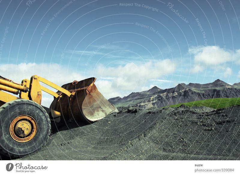 Baumaterial | Bergeversetzer Himmel Natur Landschaft Wolken Umwelt Berge u. Gebirge Arbeit & Erwerbstätigkeit dreckig groß authentisch Schönes Wetter Zukunft