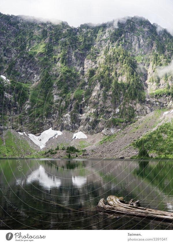 Lake 22 bergsee Klippen Felsen USA Amerika sehen Berge Wasser Schneefeld Schafe Wald Bäume Natur holz gebirge Nebel Himmel Landschaft