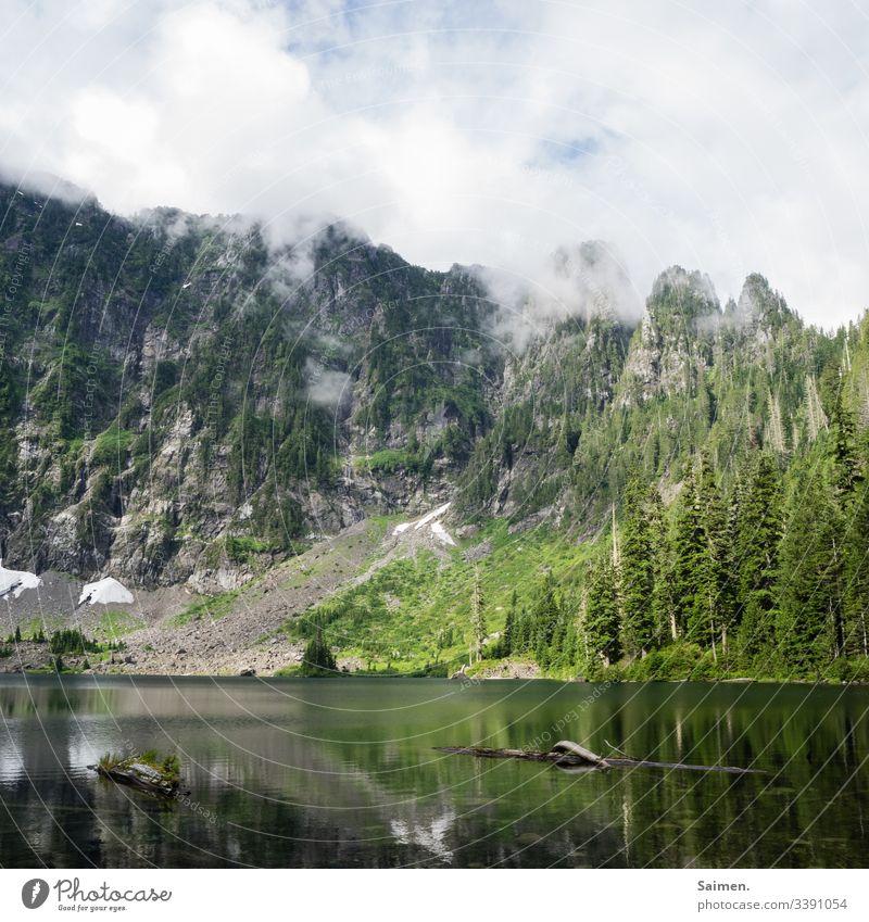 Bergsee Landschaft Nebel Himmel Berge u. Gebirge Holz Natur Wald Schneefeld Wasser Amerika USA Felsen Klippen Gebirgssee Washington State Lake 22 See