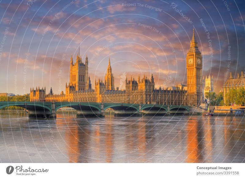 Big Ben und die Parlamentsgebäude im Morgengrauen. London. England. Architektur Anziehungskraft ben groß Brücke britannien Briten Gebäude Kapital Großstadt