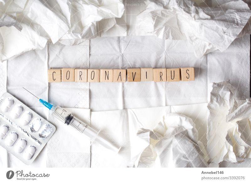 Coronavirus-Krankheit namens 2019-nCoV auf weißem Gewebe Virus Ausbruch Infektion Konzept Gesundheit Seuche Text Wort Grippe Pandemie Medizin mers Impfstoff