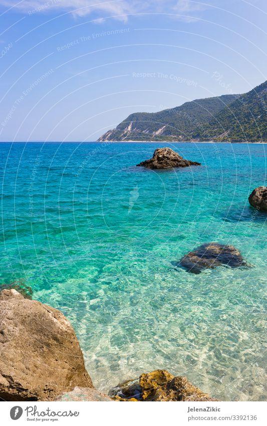 Das Dorf Agios Nikitas auf der Insel Lefkada MEER Urlaub Wasser atemberaubend Griechenland schön lefkada Fischen malerisch ruhig Berge touristisch