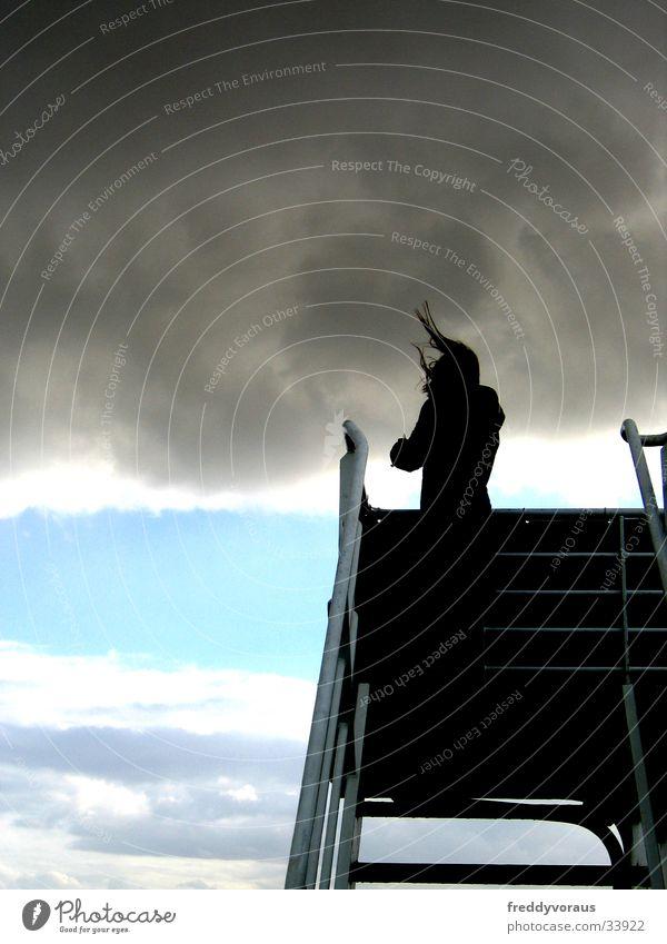 haare im wind Wolken Wasserfahrzeug Sturm Gewitter Treppe Wind