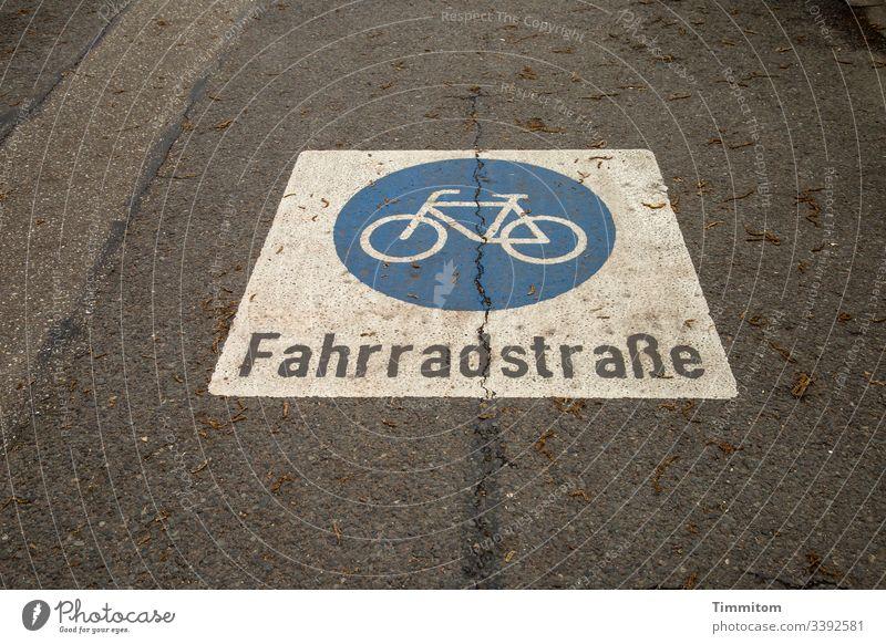 Fahrradstraße Fahrradfahren Verkehr Stadt Markierung Piktogramm Asphalt Farbe Verkehrswege Buchstaben Beschriftung Straße
