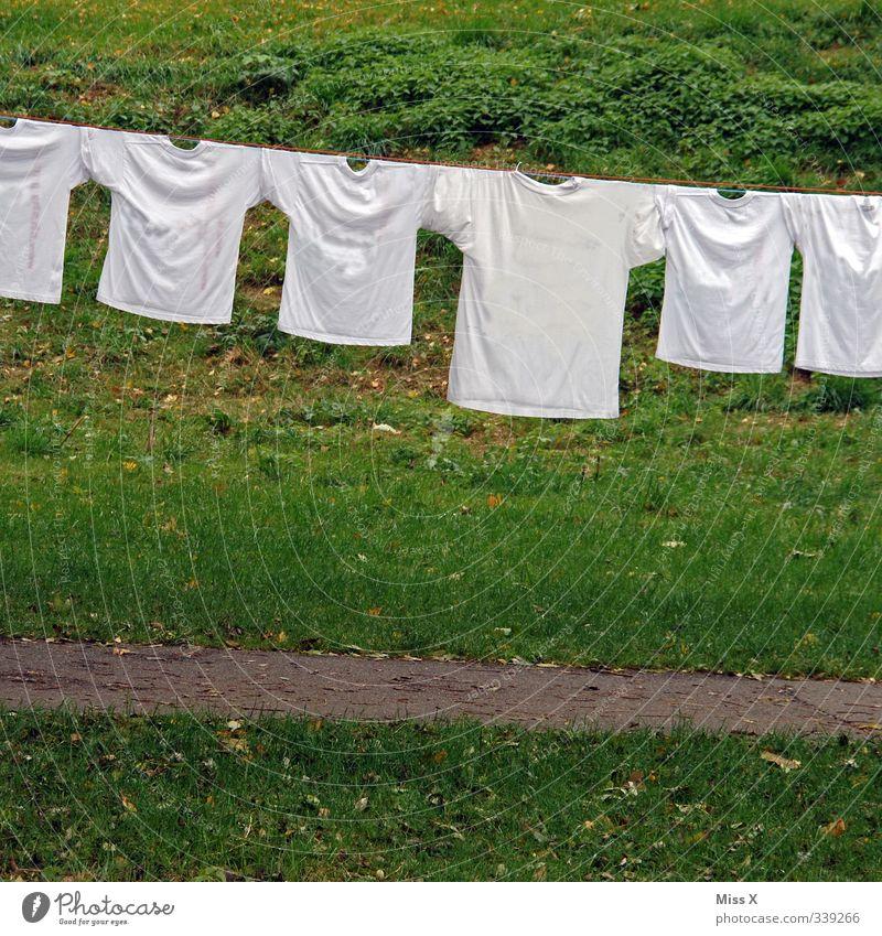 Waschtag weiß Leben Gefühle Garten Stimmung Familie & Verwandtschaft frisch Bekleidung Reinigen Sauberkeit T-Shirt trocken Wäsche waschen Reihe trocknen