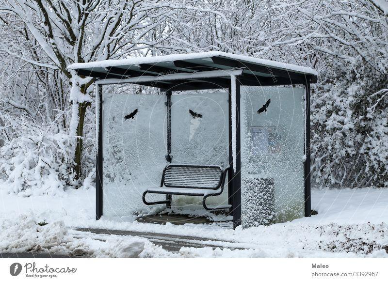 Bushaltestelle an einem verschneiten Wintertag Schnee kalt Verkehr stoppen Wetter Zeichen Tag Frost Transport gefroren im Freien Straße Saison reisen