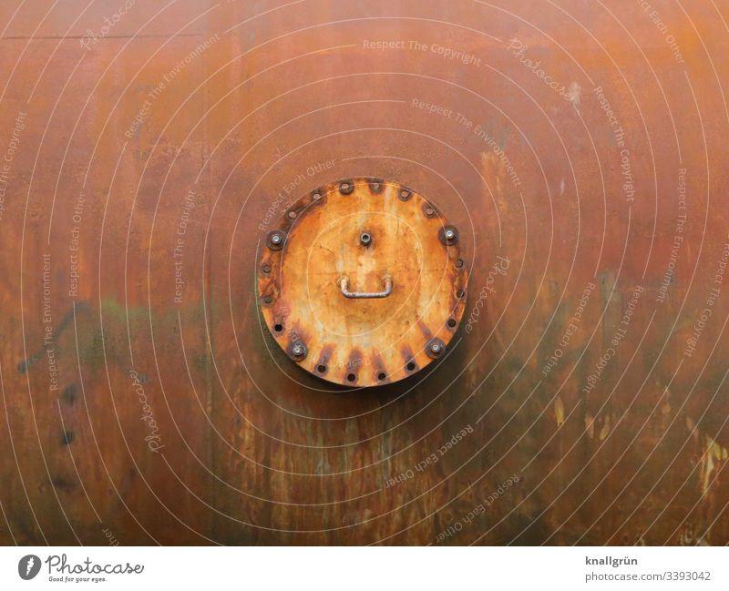 Detailaufnahme eines Teiles einer alten Industrieanlage Rost rund Metall Außenaufnahme Technik & Technologie Gedeckte Farben Fabrik Stahl Farbfoto Nahaufnahme