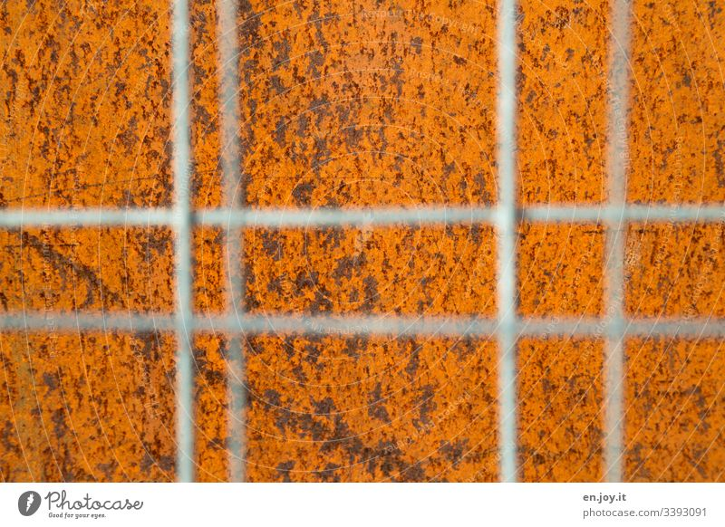 Rost hinter Gitter Verrostet Alt Korrosion Bauzaun Unschärfe Orange Baustelle Fabrik Industrie