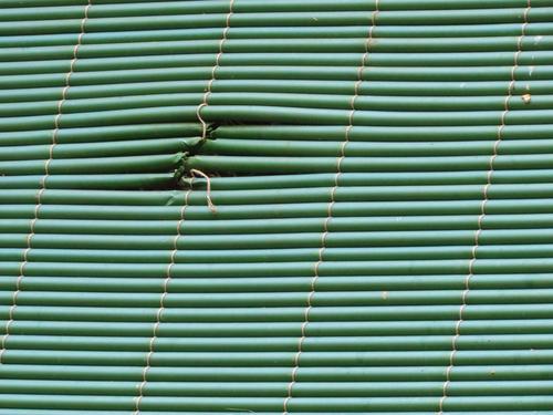 Grüner Sichtschutz mit geflickter Stelle grün Strukturen & Formen Schutz Menschenleer Farbfoto Muster Außenaufnahme Linie Streifen geschlossen Tag Sicherheit