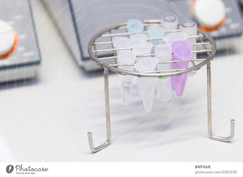 Kappen in einer Metallhalterung Analyse Analysieren Biologie Biotechnologie Chemikalie Chemie klinisch abschließen Container Korona Entwicklung Diagnostik