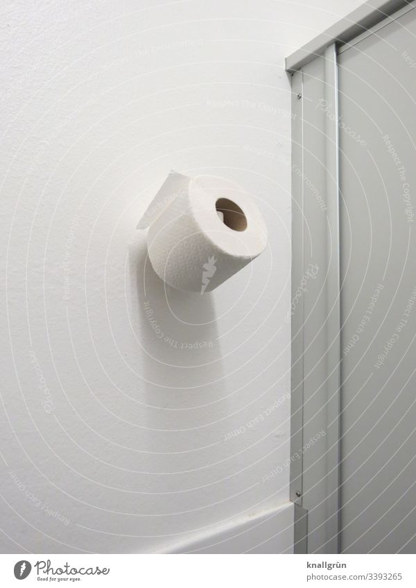 Ersatzrolle Toilettenpapier an der Wand hängend in einer öffentlichen Toilette öffentliche Toilette Menschenleer Farbfoto weiß Tag Papier Sauberkeit sanitär